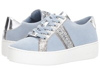 Michael Michael Kors Poppy Stripe Lace Up Pale Blue Sport Suede Antique Tumbled Metallic Chunky Glitter Lace Up Casual Shoes