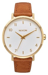 Nixon Women's The Arrow Leather Strap Watch 38Mm Saddle White Gold