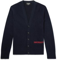 Calvin Klein 205W39nyc Slim Fit Embroidered Wool Blend Cardigan Midnight Blue