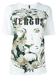 Versus Lion Head Print T Shirt White