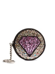 Saint Laurent Glitter Patch Leather Coin Purse Black Multi