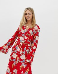 Miss Selfridge Blouse With Tie Detail In Floral Print Red