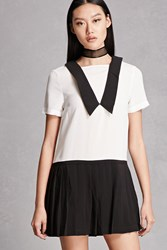Forever 21 Contrast Collar Mini Dress Black White