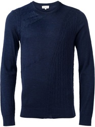 Paul And Joe Cable Knit Panel Sweater Blue