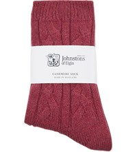 Johnstons Cable Knit Cashmere Socks Wildberry