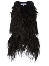 Elizabeth And James Ostrich Feather Gilet Black