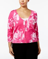 Inc International Concepts Plus Size Printed Cardigan Only At Macy's Intense Pink