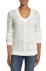 Women's Nordstrom Collection Cable Knit V Neck Sweater Ivory Cloud