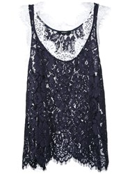 Goen.J Layered Lace Vest Blue