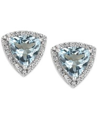 Macy's Aquamarine 3 Ct. T.W. And Diamond 1 4 Ct. T.W. Stud Earrings In 14K White Gold