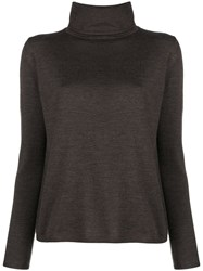 Aspesi Fine Knit Turtleneck Sweater Brown