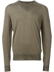 Etro Paisley Trim Sweater Grey