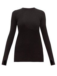 Paco Rabanne Long Sleeved Ribbed Cotton Blend Top Black