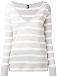 Eleventy Striped Knit Top Women Silk Merino M White