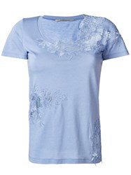 Ermanno Scervino Lace Inset T Shirt Blue