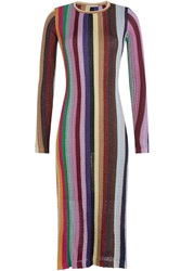 Marco De Vincenzo Metallic Striped Knit Dress Multicolor
