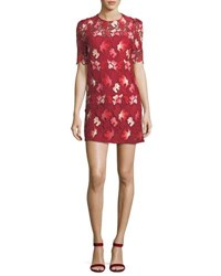 Camilla And Marc Aerie Floral Lace Short Sleeve Mini Dress Bright Pink