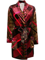Pierre Louis Mascia Belted Kimono Coat Pink And Purple
