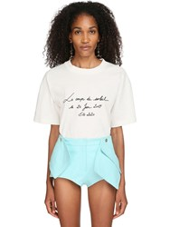 Jacquemus Logo Embroidered Cotton Jersey T Shirt White