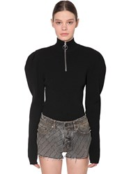Filles A Papa Fitted Viscose Blend Knit Sweater Black