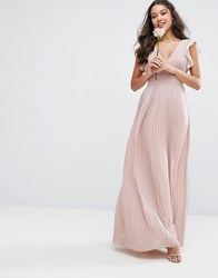 Tfnc Wedding V Front Maxi Dress With Frill Sleeves Pink