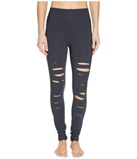 Alo Yoga Ripped Warrior Leggings Anthracite Women's Casual Pants Pewter