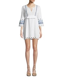 Letarte Ocean View Embroidered Coverup Dress White