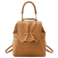 Yliana Yepez Capri Leather Mini Backpack Camel