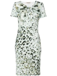 Roberto Cavalli Print Fitted Shift Dress Green
