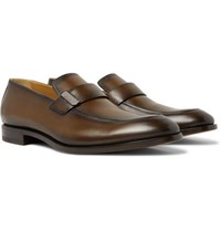 Berluti Reflet Leather Loafers Brown