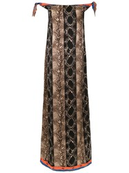 Amir Slama Off The Shoulder Long Dress Brown