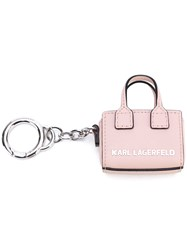 Karl Lagerfeld Branded Tote Keyring Women Calf Leather Metal One Size Pink Purple
