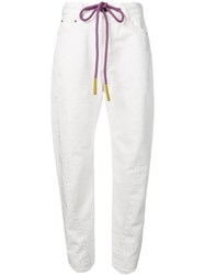 Palm Angels Drawstring Waist Jeans White
