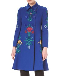 Carolina Herrera Floral Embroidered Double Breasted Wool Coat Blue Pattern