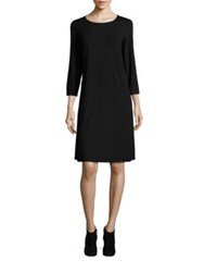 Eileen Fisher Solid Three Quarter Sleeve Dress Black