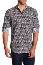 Bristol And Bull Long Sleeve Classic Fit Paisley Print Woven Dress Shirt Black