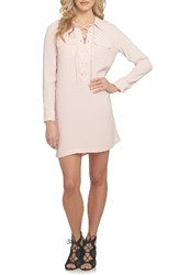 1.State Women's Lace Up Shirtdress Pink Taffeta