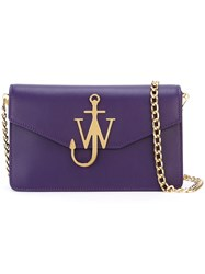 J.W.Anderson Logo Plaque Clutch Pink And Purple