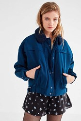 Urban Outfitters Uo Eleanor Faux Fur Collar Flight Jacket Navy