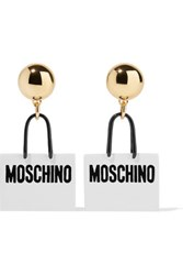 Moschino Gold Tone Enamel Earrings One Size