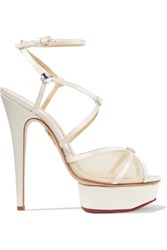 Charlotte Olympia Isadora Embellished Satin And Mesh Sandals Off White