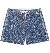 Isaia Slim Fit Mid Length Polka Dot Swim Shorts Blue