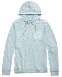 Univibe Men's Repaired Textured Hooded T Shirt Light Blue