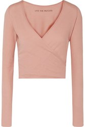 Live The Process Cropped Wrap Effect Cotton And Cashmere Blend Top Blush