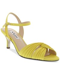 Nina Camille Two Piece Mid Heel Evening Sandals Women's Shoes Canary Yellow