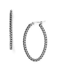 Nancy B Twisted Oval Hoop Earrings Silver