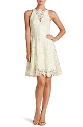Dress The Population Women's 'Hayden' Crochet Lace Fit And Flare Ivory