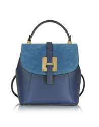 Le Parmentier Midnight Blue Suede And Leather Small Backpack Dark Blue