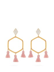 Marte Frisnes Cooper Gold Plated Tassel Earrings Grey