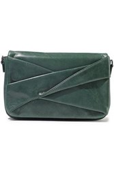 Halston Heritage Woman Grace Twisted Washed Leather Clutch Green